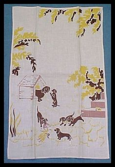dachshund linen tea towel