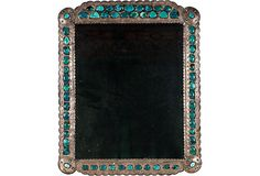 Vintage Sterling Silver & Turquoise Mirror via Tony Duquettte, One Kings Lane