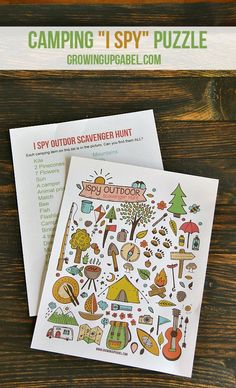 "This fun ""I Spy"" game printable is perfect for kids on long trips! This paper scavenger hunt features pictures from camping making it great for summer travel, parties, and even rainy days!"