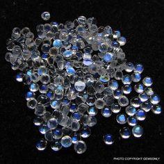 3mm Rainbow Moonstone round cabochon 3mm blue flash by GEMSONLY