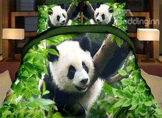 Lifelike Cute #Panda Print Green 4-Piece Duvet Cover Sets #bedding #bedroom #3d