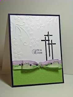 Easter card, three simple crosses, embossing, green purple accents. Courtesy of Joyful Creations with Kim: Friday Focus: Bows (Jan13)