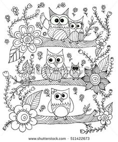 Owls With Flower And Butterfly Doodle Vector Coloring Page Owl