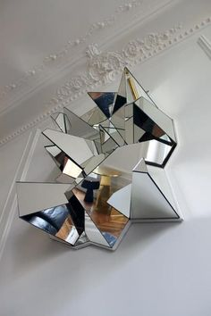 Froissé Mirror by Mathias Kiss, Geometric Mirror, Sculpture, Art, Design, Product Design, Reflection: Product, h-a-l-e.com