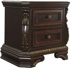 Ashley Wendlowe Two Drawer Night Stand Cherry Finish, Dark Walnut, Night Stand, Old World, Drawers, Bedroom, Create, Gold, Pictures