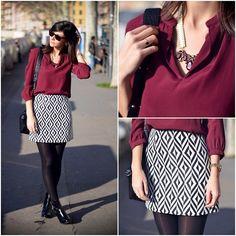 Naf Naf Blouse, New Look Skirt, Jonak Booties, New Look Necklace