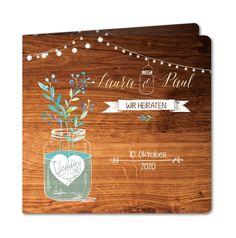 Einladungskarte Hochzeit Holz und Glastopf (R-4935-RC1)