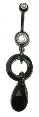 "Black Crystal belly ring - Swarovski crystals in jet black color. 14mm faceted cosmic ring (center) and 16mm pear pendant drop (cut edges catch the light). 316L surgical steel curved barbell with black titanium coating, 14 gauge, 7/16"" length. Clear, faceted gemstones. #piercethis2"
