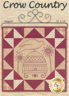 """Crow Country (August) is a 12"""" x 12"""" wall hanging that features a bird sitting atop a beehive. This kit will contain the pattern, top fabrics and backing.   The Sulky Red Thread is not included but can be added below. Add the Olfa 45mm Original Rotary Cutter for all of your precision cutting. Add the 2-Pack Red Frixion Pens for tracing and the Richard & Son Embroidery/Crewel needle - Size 4 for your hand embroidery!"""