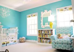 Contemporary Bright Nursery Teal And Yellow Add pink accents for a girl! Baby Boy Rooms, Baby Boy Nurseries, Kid Rooms, Girl Nursery, Nursery Decor, Nursery Ideas, Nursery Room, Girl Room, Kids Bedroom