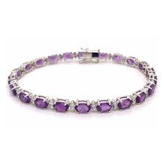 Oval Amethyst & Diamond Claw Set Line Bracelet 10.55ct Gold G, White Gold, Half Eternity Ring, Diamond Bracelets, Ring Earrings, Anniversary Gifts, Aurora, Diamond Cuts, Amethyst