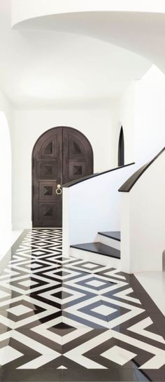 Black and white entry way Old World, Mediterranean, Italian, Spanish & Tuscan Homes & Decor