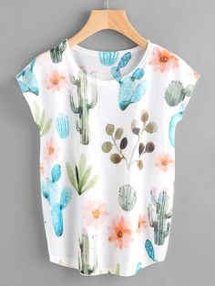 Shop Dolman Sleeve Cactus Print Tee at ROMWE, discover more fashion styles online. Teen Fashion, Love Fashion, Fashion Outfits, Korean Fashion, Vintage Fashion, Fashion Tips, Cool Outfits, Summer Outfits, Printed Tees