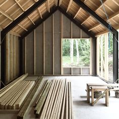 Nice to be able to store the wood in a dry location for once… Nice to be able to store the wood in a dry location for once… house construction Metal Barn Homes, Metal Building Homes, Pole Barn Homes, Building A House, Steel Frame House, A Frame House, Shed Homes, Cabin Homes, Cabin Design