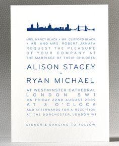 london skyline wedding invitation from hello lucky