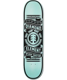 "The Nyjah Huston Collaboration deck from Element and Diamond Supply Co is a Featherlight skateboard deck built to Nyjah's exact specs. The Nyjah pro model skateboard has a Diamond blue ""Nyjah Huston"" graphic with Brilliant logos throughout plus a gr Build Your Own Skateboard, Skateboard Deck Art, Skateboard Parts, Skateboard Design, Skateboard Girl, Nyjah Huston, Best Bmx, Skate And Destroy, Cool Skateboards"
