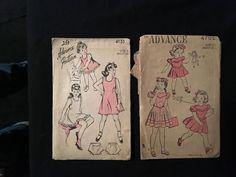 2 Childs Sewing Patterns 1940s Advance Dress 4702 Slip Panties 4135 Unprinted