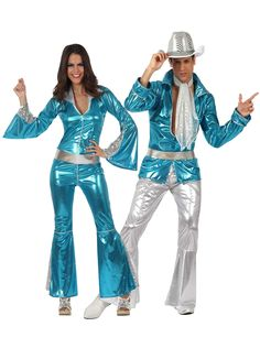 Blue 70's Disco Couples Costume for Adults: Blue Disco Costume for WomenThis costume for women consists of a suit and belt (shoes not included). The suit is bright blue with patches of silver on the arms and legs. The arms and legs are...