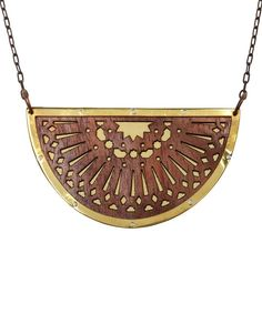 PAMELA LOVE | Zellij Wood and Brass Necklace | Browns fashion & designer clothes & clothing