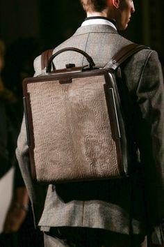 Astrakhan Briefcase Backpack.  @Cheri Edwards Porter 1961 Fall Winter 2014