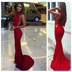 Sexy Red Prom Evening Dress, High Neck Prom