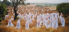 During Burning Man 2013 the artist did one of his famous nude shooting in the desert - by Spencer Tunick (1967), USA