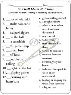 Baseball field diagram baseball activities pinterest baseball idiom concentration baseball edition ccuart Image collections