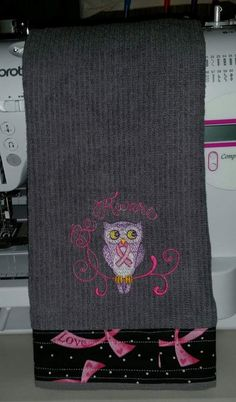 Embroidered Breast Cancer towel with a fabric border ♡♡♡