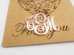 Monogram Necklace Small,Rose Gold Initial Necklace,1 inch Personalized Monogram Charm,Initial Necklace,3 initials Nameplate Pendant