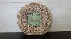 Material Wreath with HOME sign #wreath #wreathideas #home #burlap #goldenforrestcreations Homemade Wreaths, Home Signs, Burlap Wreath, Monogram, Bows, Flowers, Arches, Floral, Burlap Garland