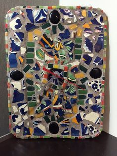 Handmade Mosaic Wall Clock Broken Mexican Talavera by gcbmosaics