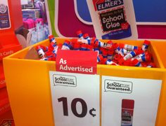 Walmart Deals: Elmer's Glue Stick for $0.10! Awesome price to stock up! You'll only find this deal in the big bins of school supplies not on a shelf.