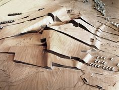 City of Culture of Galicia, Santiago de Compostela, Spain, competition model, 1999, by Peter Eisenman, Eisenman Architects. Project under construction.