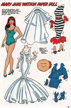 """MARY JANE Watson Paper Doll"" from Marvel Age #54 (September 1987), pencils by John Romita Sr., inks by Vince Colletta, colors by Janet Jackson. Why the Sam Scratch are they credited in reverse on the page, huh?   'Let's face it, tiger, use sharp scissors to cut me out and hit the jackpot!'"