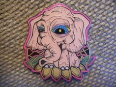 "RARE ""Lotus Elephant"" Pin FREE SHIPPING (Heady Trippy Grateful Weed Hat Pins)"