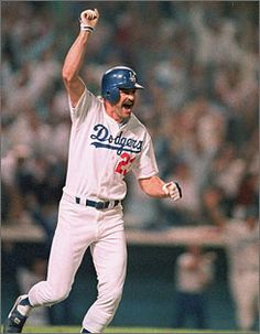 Kirk Gibson after his game-winning home run in the opening game of the 1988 World Series