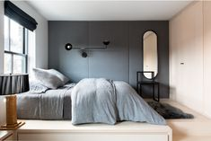 minimalist grey bedroom