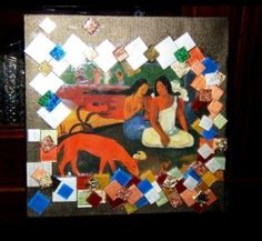Tela creativa a decoupage e tessere mosaico