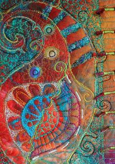 Examples of textiles and stitch Free Motion Embroidery, Embroidery Art, Embroidery Stitches, Machine Embroidery, Embroidery Patterns, Textile Fiber Art, Textile Artists, Creative Textiles, Thread Painting
