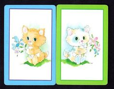 playing cards with pictures of cats on | Vintage Swap/Playing Cards - Olde World Children with Dogs Pair