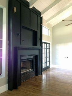 - Juniper Home Wooden Fireplace, Small Fireplace, Home Fireplace, Fireplace Remodel, Living Room With Fireplace, Fireplace Surrounds, Fireplace Design, Fireplace Mantels, Home Living Room
