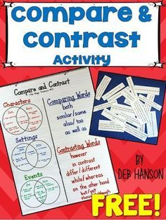 This blog post contains a FREE compare and contrast reading activity! Materials are included so you can replicate the compare and contrast anchor chart and lesson for your own upper elementary and middle school students.