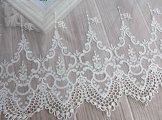 Vintage Embroidery Lace, White Tulle Lace Fabric Trim, Cotton Lace Trim, Bridal dresses Lace ONE yard