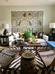 Dear HGTV: Bring Back the Decorating Shows (neutral living room with botanical gallery wall by Lauren Liess)