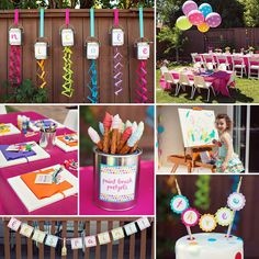 What a masterpiece! Taleen of Simple Little Details threw her daughter a Polka Dot & Rainbow Paint Themed Birthday Party full of creative and artsy ideas! http://hwtm.me/ZTdfFF #Art #Party #ArtParty #Paint #Rainbow