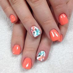 Nail art Christmas - the festive spirit on the nails. Over 70 creative ideas and tutorials - My Nails Girls Nail Designs, Beach Nail Designs, Diy Nail Designs, Cruise Nails, Vacation Nails, Summer Gel Nails, Beach Nails, Gel Nail Art, Acrylic Nails