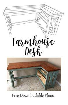 Diy Office Desk, Diy Computer Desk, L Desk, Diy Furniture Plans, Diy Furniture Projects, Desk Plans Diy, Wood Furniture, Garden Furniture, Furniture Design
