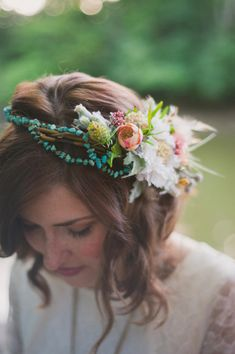 floral + turquoise crown // photo by Colagrossi Studio, flowers by Orchid and Willow, view more: http://ruffledblog.com/riverside-bohemian-wedding-shoot/