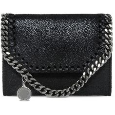 Stella McCartney Black Falabella Shaggy Deer Small Wallet (4.299.745 IDR) ❤ liked on Polyvore featuring bags, wallets, black, black zip wallet, stella mccartney bags, zip bags, logo bags and black zipper bag