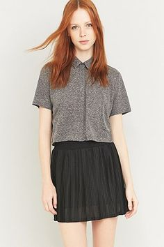 Urban Outfitters Cropped Boxy Button-Down Shirt